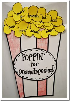 Popcorn-inspired onomatopoeia  {A Year of Many Firsts Blog}