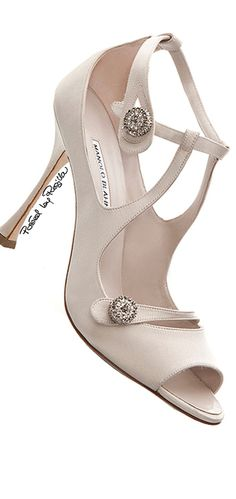 Manolo Blahnik ~ Spring Open Toe Pumps, White, 2015