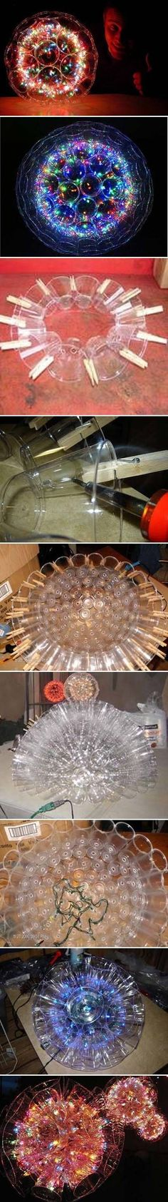 DIY Lighting Ideas: Lamps & Chandeliers Made From Everyday Objects Sparkle Balls! Plastic cups stuck together, with Christmas lights inside. Full tutorial at link Cup Crafts, Diy And Crafts, Arts And Crafts, Easy Crafts, Bottle Crafts, Christmas Lights, Christmas Crafts, Christmas Decorations, Christmas Lamp