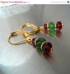 Tsavorite Garnet Earrings Green Garnet and Red Garnet Christmas Earrings Holiday Jewelry ON SALE. $26.10, via Etsy.
