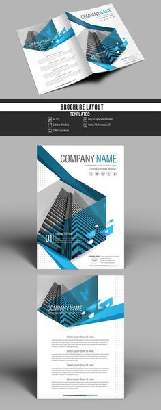 Brochure Cover Layout with Blue Accents 1 - image | Adobe Stock #Brochure #Business #Proposal #Booklet #flyer #template Design layout | Brochure template | Brochure design template | Flyers | Template | Brochures | Flyer Background | Background design | Business Proposal | Proposal Design | Booklet | Professional | Professional - Proposal - Brochure - Template