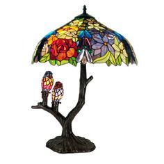 """@Overstock.com - Tiffany-style Warehouse of Tiffany Sarah Camille Table Lamp - This sweet Tiffany-style stained-glass table lamp gets top ratings for its ability to inspire """"oohs"""" and """"aahs"""" from whoever sees it. It features a tree-shaped lamp base that is adorned by two birds. The shade is made from 787 pieces of cut glass. http://www.overstock.com/Home-Garden/Tiffany-style-Warehouse-of-Tiffany-Sarah-Camille-Table-Lamp/7683628/product.html?CID=214117 $216.99"""