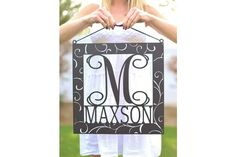 Custom Last Name Wall Sign - Sign is shown painted black so you can see all the fabulous details; however, your sign will arrive in unfinished wood ready for you to paint or stain any color you'd like.
