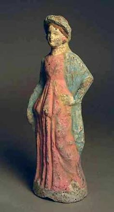 Ancient Greek Polychrome Figurine of a Woman,3rd-2nd c. B.C.