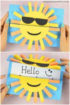 Sun DIY Paper Card - Fun Paper Craft for Kids - Easy Peasy and Fun Diy Fall Crafts diy easy fall paper craft Fall Paper Crafts, Sun Crafts, Diy Paper, Summer Crafts For Kids, Diy For Kids, Creative Ideas For Kids, Summer Crafts For Preschoolers, Card Making For Kids, Craft Making