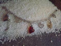 silver bracelet with Swarovski crystals bracciale in argento cuori Swarovski
