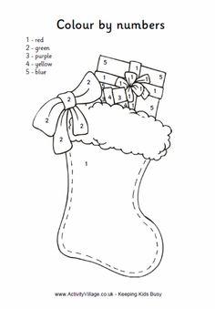 Christmas stocking colour by numbers 2 Christmas Color By Number, Christmas Colors, Winter Christmas, Nordic Christmas, Modern Christmas, Xmas, Holiday, Preschool Christmas, Christmas Activities