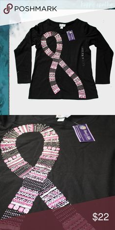 db6dbe3abf60 Live for Life Pink Ribbon Long Sleeve Tee NWT Long sleeved black t-shirt  with
