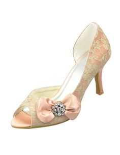 Champagne Peep Toe Flower Lace Wedding Shoes. See More Bridal Shoes at http://www.ourgreatshop.com/Bridal-Shoes-C919.aspx
