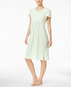 Miss Elaine Embroidered Pointelle-Trimmed Nightgown - Green XL