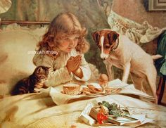 WALL Art Antique restored print Little Girl in Bed w/Dog/kitten & food! adorable! just $12