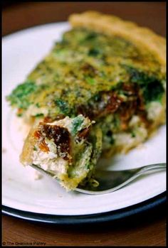 "Clean eating pesto quiche: 1 cup spinach  1 cup broccoli  16 oz. carton of egg whites  1 cup shredded low fat cheese  1/4 cup parmesan  1 tbsp. italian spice  1 tsp. pepper  1/4 cup (generous) sun dried tomatoes (not the ""packed in oil"" kind. Just dry.)  1 tbsp. pesto  1/2 cup diced mushrooms (optional)  1 pre-made whole wheat pie crust"