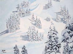 Sexten/Sesto, La neige dans le Helm - Aquarell, watercolor - 40 x 50 cm