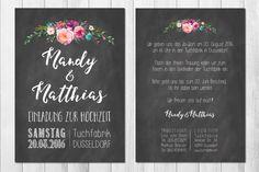 Einladungskarten - CHALK BOARD 50x Einladungskarten Vintage Hochzeit - ein Designerstück von wildchildwedding bei DaWanda