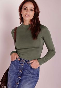 long sleeve turtle neck jersey top khaki