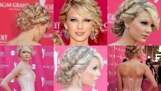 curly updo with side bangs