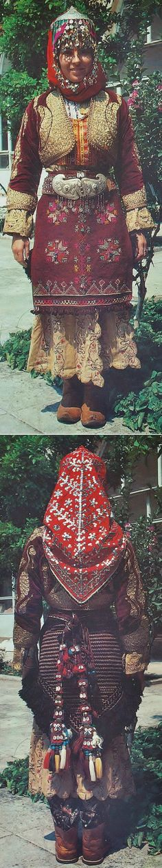 Traditional bridal/festive costume for young women, from the central district of the Manisa province. Rural style, ca. 1925-1950. (Kavak Archives, Antwerpen/Belgium).