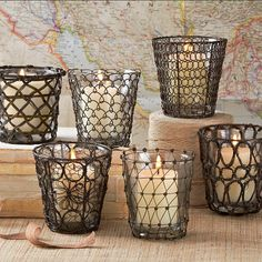 Wire votive candle holders