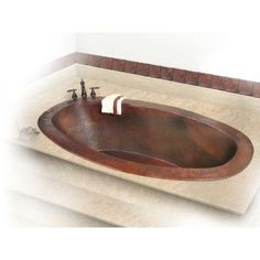 "D'Vontz Roberta Copper 67"" x 31"" Small Self-Rimming or Undermount Bathtub Finish: Dark Smoke Copper, Drain Location: Center, Overflow Location: Center"