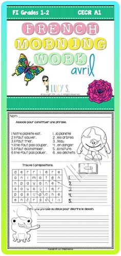 French Language Morning Work - 20 worksheets with exercises in ...
