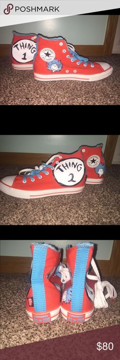 AUTHENTIC DISNEY HIGHTOP CONVERSE Thing 1 and Thing 2 Red and Blue All Star Converse! Converse Shoes Sneakers