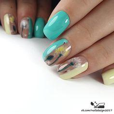 Green Nails, Pink Nails, Hot Nails, Hair And Nails, Simple Nail Art Designs, Nail Designs, Dandelion Nail Art, Long Square Nails, Fruit Nail Art