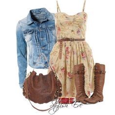 Summer dress denim & brown