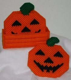 A set of 4 double-sided Halloween pumpkin coasters ready for haunting. Coasters are machine-washable. Plastic Canvas Coasters, Plastic Canvas Ornaments, Plastic Canvas Christmas, Plastic Canvas Crafts, Plastic Canvas Patterns, Halloween Canvas, Halloween Pumpkins, Halloween Crafts, Halloween Stuff
