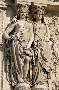 """hismarmorealcalm: """" Caryatides doubles en pied soutenant le fronton du pavillon Rochelieu Palais du Louvre Paris """""""