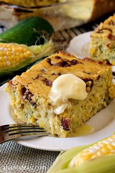 Zucchini Corn Bread with Bacon - Incredibly moist and delicious cornbread bursting with summer flavors!
