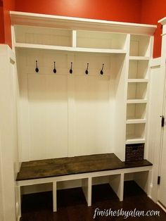 Beautiful mudroom bench with upper, lower and side cubbies. The side cubbies were designed around a specific basket size.