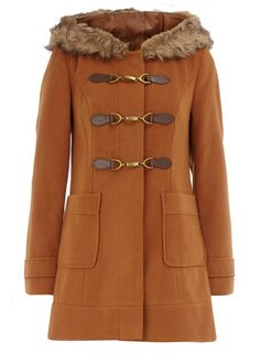 tobacco fur hood duffle coat $89