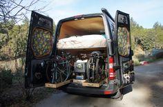 Traipsing About | The Adventure Mobile – Our Sprinter Camper Van DIY Bike Hauler Cool Campers, Truck Camper, Diy Camper, Build A Camper Van, Custom Camper Vans, Custom Campers, Sprinter Rv, Sprinter Van Conversion, Mercedes Sprinter Camper Van