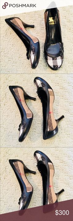 Authentic Burberry Shoes/Heels with Novacheck Love these shoes but since pregnancy, unfortunately I cannot fit them. They are in Excellent Condition, only worn for my older daughter's 5th grade graduation. Enjoy! Very negotiable. No dust bag/no box, thought I'd have them forever until my foot size remained 1/2 size wider 😩😩😩😩 Burberry Shoes Heels