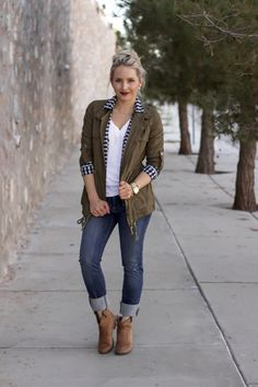 Military Cargo Jacket for Fall with Gingham and Leopard | Glamour-Zine