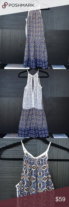 LF Millau Printed Romper Beautiful blue floral print, detailed sheet white lace back, top button enclosure behind the neck, great styled with belted, size M Millau Dresses