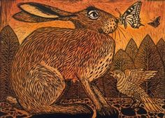 """Unexpected Guest,"" © 2014 Ian MacCulloch, artist and printmaker. Jack Rabbit, Rabbit Art, Hare Illustration, Illustrations, Bunny Art, Bunny Bunny, Wood Engraving, Of Wallpaper, Woodblock Print"