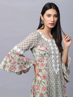 Green Hand Block Printed Cotton Asymmetric Kurta with White Pants and Mulmul Tie and Dye Dupatta- Set of 3 Neck Designs For Suits, Sleeves Designs For Dresses, Dress Neck Designs, Printed Kurti Designs, Kurta Patterns, Leelah, Kurta Neck Design, Pakistani Dresses Casual, Stylish Dresses For Girls