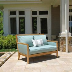 The mid-century danish modern inspired Salon loveseat comes in over outdoor fabric options that resist mold, mildew, and water for a lifetime of outdoor use. Teak Outdoor Furniture, Porch Furniture, Garden Furniture, Furniture Ideas, Outdoor Lounge, Outdoor Seating, Outdoor Dining, Outdoor Spaces, Outdoor Decor