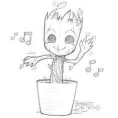 Just a casual picture of Baby Groot - # casual . Just a casual picture of Baby Groot - # casual You possibly can work with the pencil drawing. Music Drawings, Pencil Art Drawings, Art Drawings Sketches, Easy Doodles Drawings, Baby Groot Drawing, Disney Character Drawings, Drawing Disney, Disney Cartoon Drawings, Easy Disney Drawings