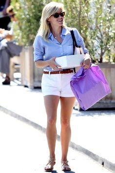favorite summer outfit: crisp blue shirt + white shorts + brown woven belt + sandals