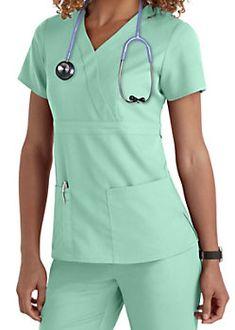 Grey's Anatomy 3 Pocket Mock Wrap Scrub Tops