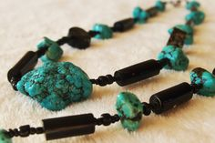 Black Coral Necklace and bracelet set with turquoise N2
