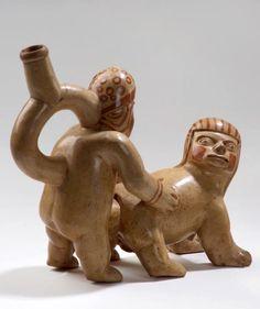 Cópula anal entre hombre y mujer-animal. Cultura Moche o Mochica. Museo Larco, Lima-Perú   Sexualidades prehispánicas