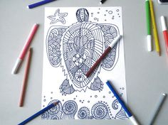 totem sea turtle adult coloring page honu kids by LaSoffittaDiSte