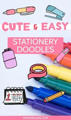 Cute and Easy Stationery Bullet Journal Doodles Bullet Journal How To Start A, Bullet Journal Junkies, Bullet Journal Spread, Bullet Journal Layout, Bullet Journal Inspiration, Journal Ideas, Bullet Journals, Planner Doodles, Bujo Doodles