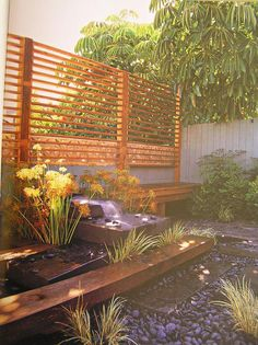Image detail for -oriental trellis with water feature Privacy Screen Outdoor, Privacy Screens, Patio Bench, Garden Trellis, Fence Design, Small Patio, Diy Garden Decor, Outdoor Gardens, Outdoor Living