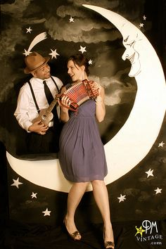 A paper moon backdrop for photos would be a fun addition to a wedding or couples shower.