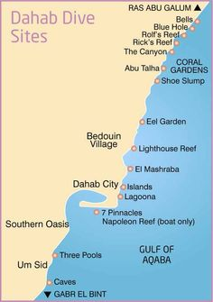 Map of local Dahab dive sites