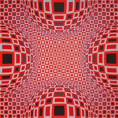 Victor Vasarely print: four globes in red